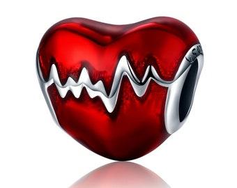 Heartbeat Charm Bead * Sterling Silver * 4.5mm Inner Diameter * Fits most European Charm Bracelets
