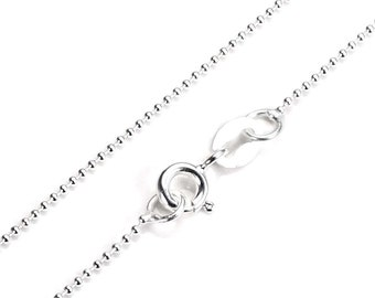 1mm Bead Chain * 14 16 18 20 22 24 28 32 inches * Sterling Silver
