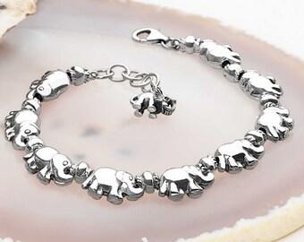 Sterling Silver Elephant Bracelet for Women * Baby Elephant Family Animal Bracelet Design