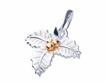 Sterling Silver and 18ct Gold Holly Necklace for Women or Girls * Personalized with 40 Characters * December Flower Nature Pendant Design