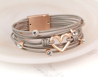 Personalised Rose Gold Heart And Crystal Taupe Leather Bracelet
