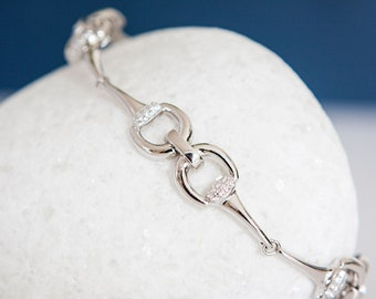 Personalised Sterling Silver and Cubic Zirconia Snaffle Bit Bracelet
