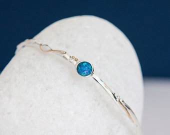 Sterling Silver and Round Blue Opal Bangle Bracelet