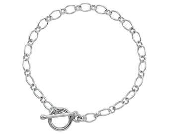 0.5mm Long and Short Cable Bracelet Chain * 6 7 8 inches * Sterling Silver * Ideal for Clip Charms