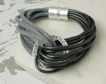 Personalised Grey Leather Glitter Cord Crystal Circle Bracelet