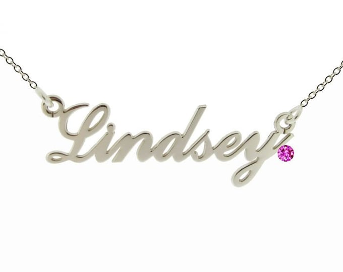 Featured listing image: Medium Personalized Name Necklace * Sterling Silver * Name Jewelry * Silver Name Pendant * Custom Name Necklace * Hand Cut * Engraved