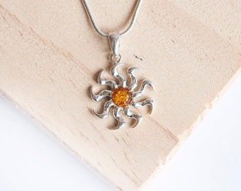 Sterling Silver Sun Pendant Necklace * Personalized with 40 Characters * Choice of 6mm Semi Precious Gemstone *