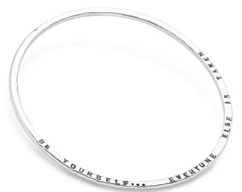 Personalised Hammered Bangle * Sterling Silver * Personalised Jewelry * Hand Stamped * Engraved * Custom Family *