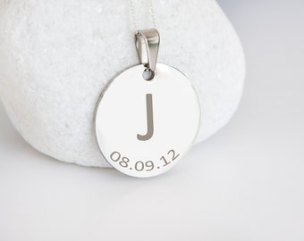 Personalised Sterling Silver Initial and Date Coin Disc Pendant Necklace