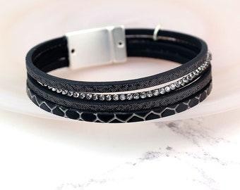 Personalised Black Leather Bracelet with Crystals and Metallic Detail