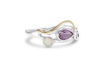 Personalized Sterling Silver Ring with Opal and Amethyst Gemstones