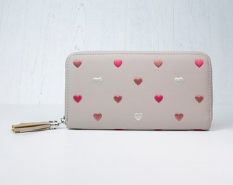 Personalised Taupe-Grey Faux Leather Purse with Embroidered Hearts