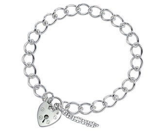 0.7mm Curb Bracelet Heart Lock Chain * 6 7 8 inches * Sterling Silver * Ideal for Clip Charms * Mediumweight
