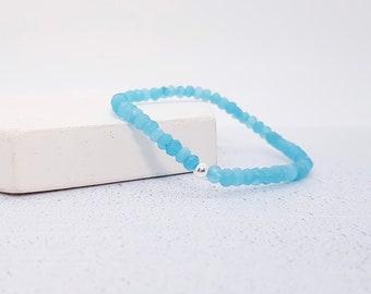 Sterling Silver Amazonite Bracelet for Women * Adjustable Stretch Stacking Faceted 4mm Bead Bracelet
