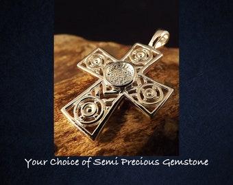 Sterling Silver Cross Pendant Necklace * Choice of Semi Precious Gemstone *