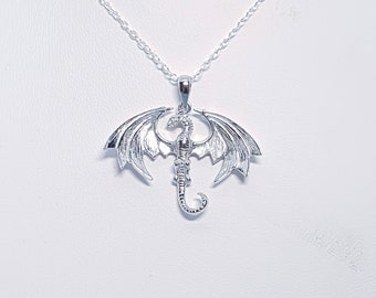 Sterling Silver Wyvern Dragon Necklace for Men or Women * Personalized With Up To 40 Characters * Fantasy and Mythology  Pendant Design
