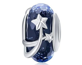 Shooting Stars Charm Bead * Sterling Silver * 4.5mm Inner Diameter * Fits most European Charm Bracelets