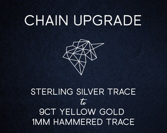 Chain Upgrade 1mm Hammered Cable Chain - 16 18 20 24 inches * Solid 9ct Yellow Gold * Best for Women, Girls