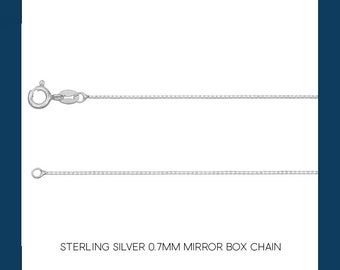 Sterling Silver Mirror Box Chain Necklace - 0.7mm