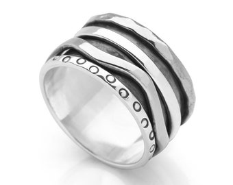 Sterling Silver Spinner Ring for Women * Personalized With Up To 10 Characters * Wide Band * Custom Thumb Ring * Irregular Wave Design *