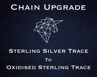 Chain Upgrade to 2mm Oxidised Trace Chain * 16 18 20 22 inches * Sterling Silver * Cable Chain