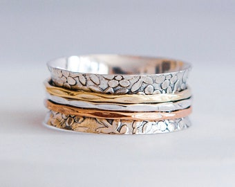 Sterling Silver Spinner Ring for Women * Personalized With Up To 10 Characters * Wide Band * Custom Thumb Ring * Flower Pattern *