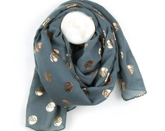 Personalised Washed Grey Scarf with Metallic Gold Ocean Print - 70cm x 180cm