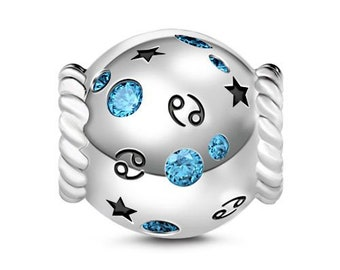 Cancer Zodiac Charm Bead * Sterling Silver * 4.5mm Inner Diameter * Fits most European Charm Bracelets