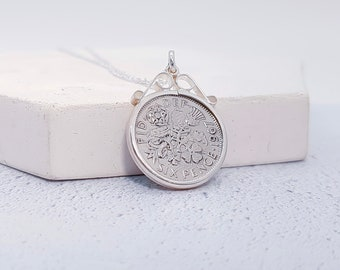 Sterling Silver Sixpence Pendant Necklace with Any Date