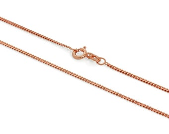 1mm Curb Chain * 16 18 20 22 24 inches * Rose Gold Dipped Sterling Silver