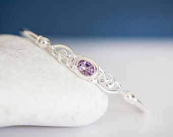 Personalised Sterling Silver and Amethyst Celtic Love Knot Bangle Bracelet