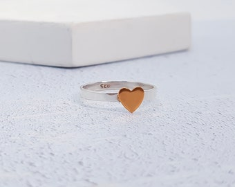 UK P / US 7.5  Copper Heart Stacking Ring * Sterling Silver * Slim Ring * Band Ring * Minimalist * Dainty * Hammered