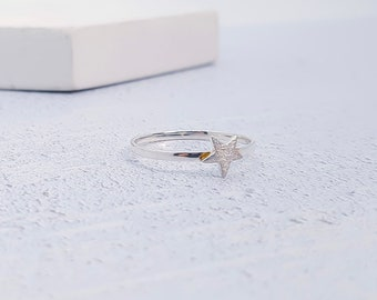 UK S / US 9 Silver Star Stacking Ring * Sterling Silver * Slim Ring * Band Ring * Minimalist * Dainty * Hammered
