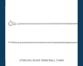 Sterling Silver Ball Bead Chain Necklace - 1.5mm