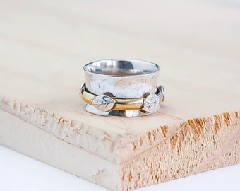 Sterling Silver Spinner Ring for Women * Personalized With Up To 10 Characters * Wide Band * Custom Thumb Ring *  Woodland Leaf Design *