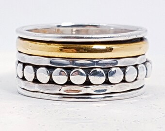 Sterling Silver Spinner Ring for Women * Personalized With Up To 10 Characters * Wide Band * Custom Thumb Ring * Mixed Metal Finish *