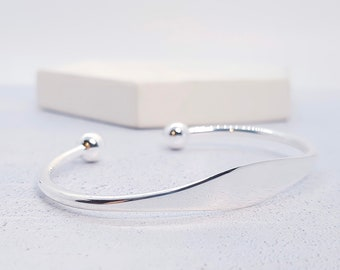 Sterling Silver Cuff Bracelet for Men or Women * Personalised with 40 Characters * Wide Heritage Celtic Torc Design