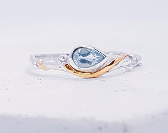 Sterling Silver Sky Blue Topaz Ring for Women * Personalized With Up To 40 Characters * Organic Gemstone Ring *