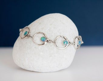 Sterling Silver Circles with Blue Opal Bracelet