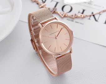 Personalised Rose Gold Watch with Rose Gold Dial