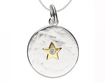 Personalized Sterling Silver and 18ct Gold Star March Birthstone Pendant Necklace with Cubic Zirconia Aquamarine Gemstone