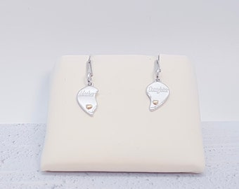 Sterling Silver and 9ct Gold Heart Necklace for Mother and Daughter * Personalized with 40 Characters * Love Heart Pendant Jewelry Design