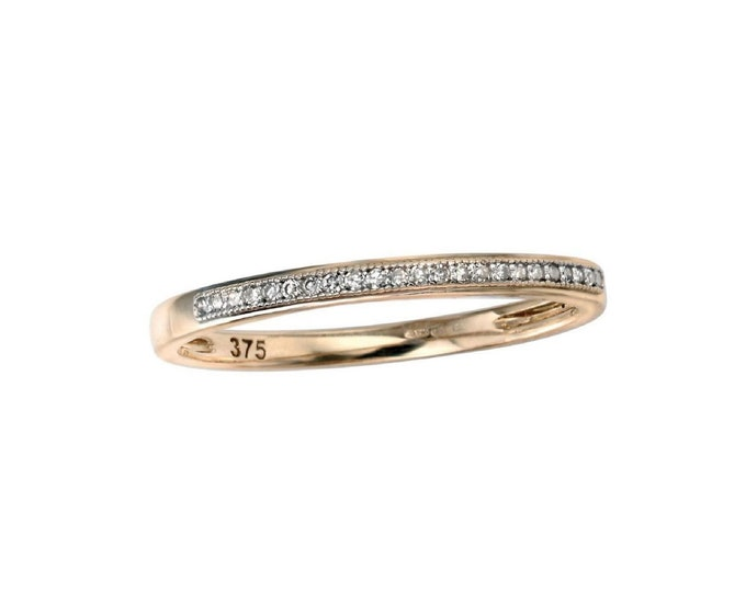 Featured listing image: Solid Gold Stacking Ring for Women *  23 Pave Diamond Set Gemstone Stacking Ring