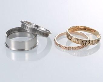 Stainless Steel Spinner Ring Starter Set for Men or Women * 8mm Rose and Yellow Gold Knit Starter Set