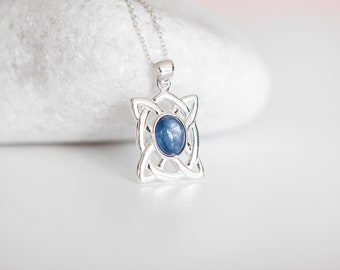 Sterling Silver Celtic Shield Knot Pendant Necklace with Kyanite Gemstone