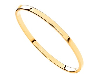 Personalised 9ct Yellow Gold Hollow Hinged Stacking Bangle