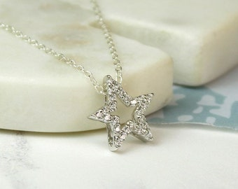 Personalised Star Necklace * Sterling Silver * Star Pendant * Shooting Star Jewelry * Make a Wish * Lucky Star Gift * Boho Jewelry