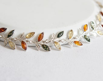 Personalised Baltic Amber Bracelet * Sterling Silver * Natural Amber for Adults * Leaf Bridal Bracelet * Dainty Leaf Bracelet * Gift for Her