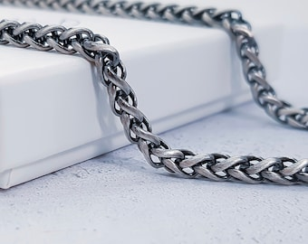 4mm Solid Sterling Silver Wheat Chain for Men in Oxidised Gunmetal - 20 22 24 inches
