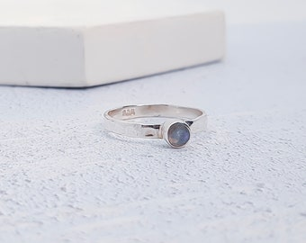 UK P / US 7.5 / EU 56.5  Moonstone Stacking Ring * Sterling Silver * Slim Ring * Band Ring * Minimalist * Dainty * Geometric Jewelry